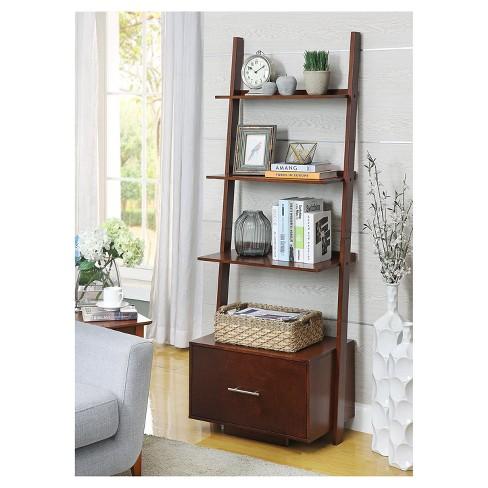 016bdd8059 American Heritage Bookshelf Ladder with Drawer Espresso 69