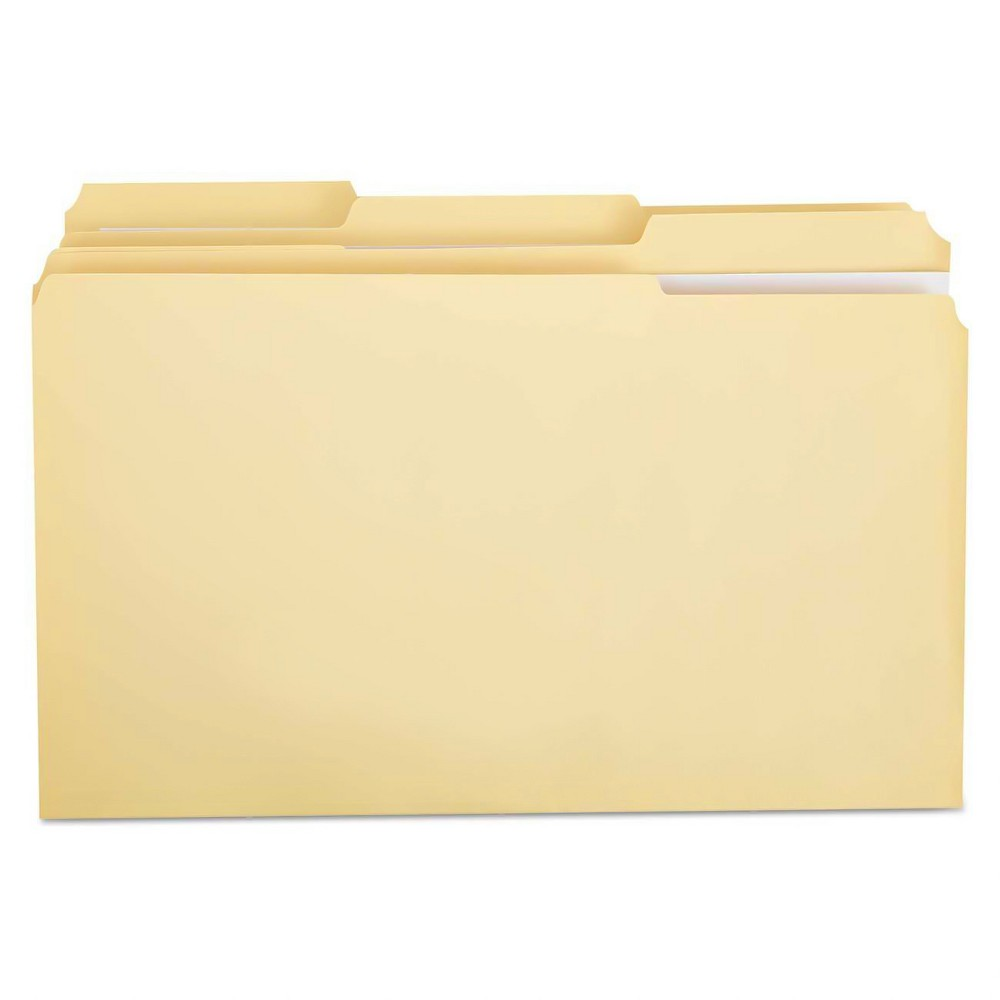 Universal File Folders 1/3 Cut Assorted, Two-Ply Top Tab, Legal, 100 CT - Manila, Beige