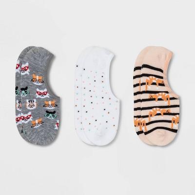 Women's Cat 3pk Liner Socks - Xhilaration™ Gray/White/Pink 4-10