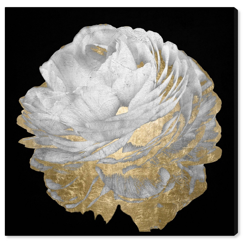 Image of 12'' x 12'' Floral Unframed Wall Canvas Black/White/Gold - Oliver Gal
