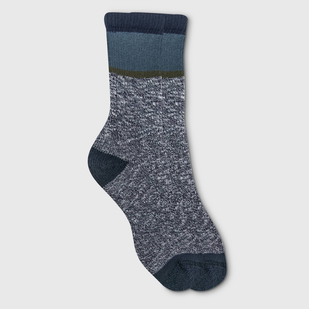 Image of Alaska Knits Women's Colorblock Wool Blend Crew Boot Socks - Navy 4-10, Women's, Size: Small, Blue