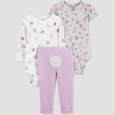 Baby Girls' Cat Top & Bottom Set - Just One You® made by carter's Purple 3M