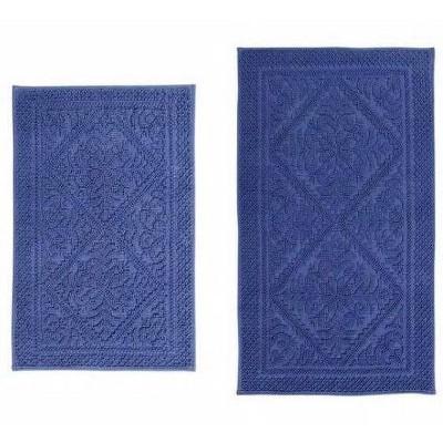 2pc Jacquard Collection 100% Cotton Bath Rug Set Blue - Better Trends