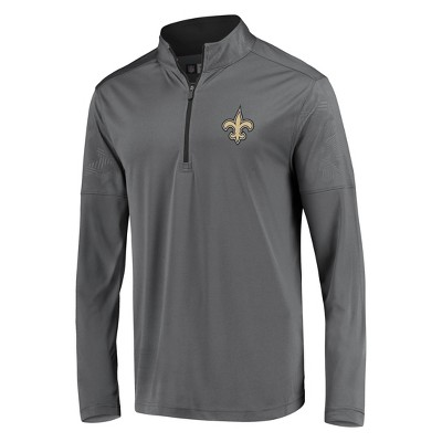 NFL New Orleans Saints Men's Poly Embossed Gray 1/2 Zip Hoodie - XL
