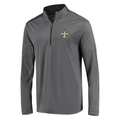 Nfl New Orleans Saints Men S Poly Embossed Gray 1 2 Zip Hoodie