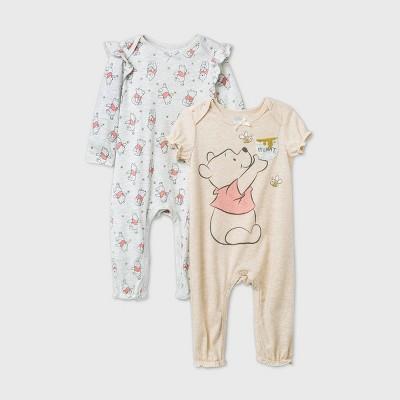 Baby Girls' 2pk Winnie The Pooh Romper - Gray 3-6M