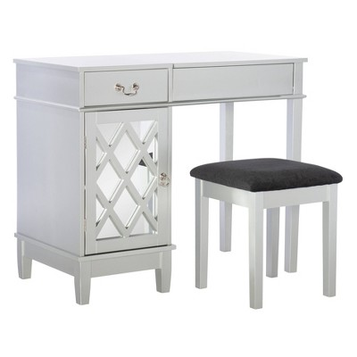 Silver Lattice Vanity Set - Linon