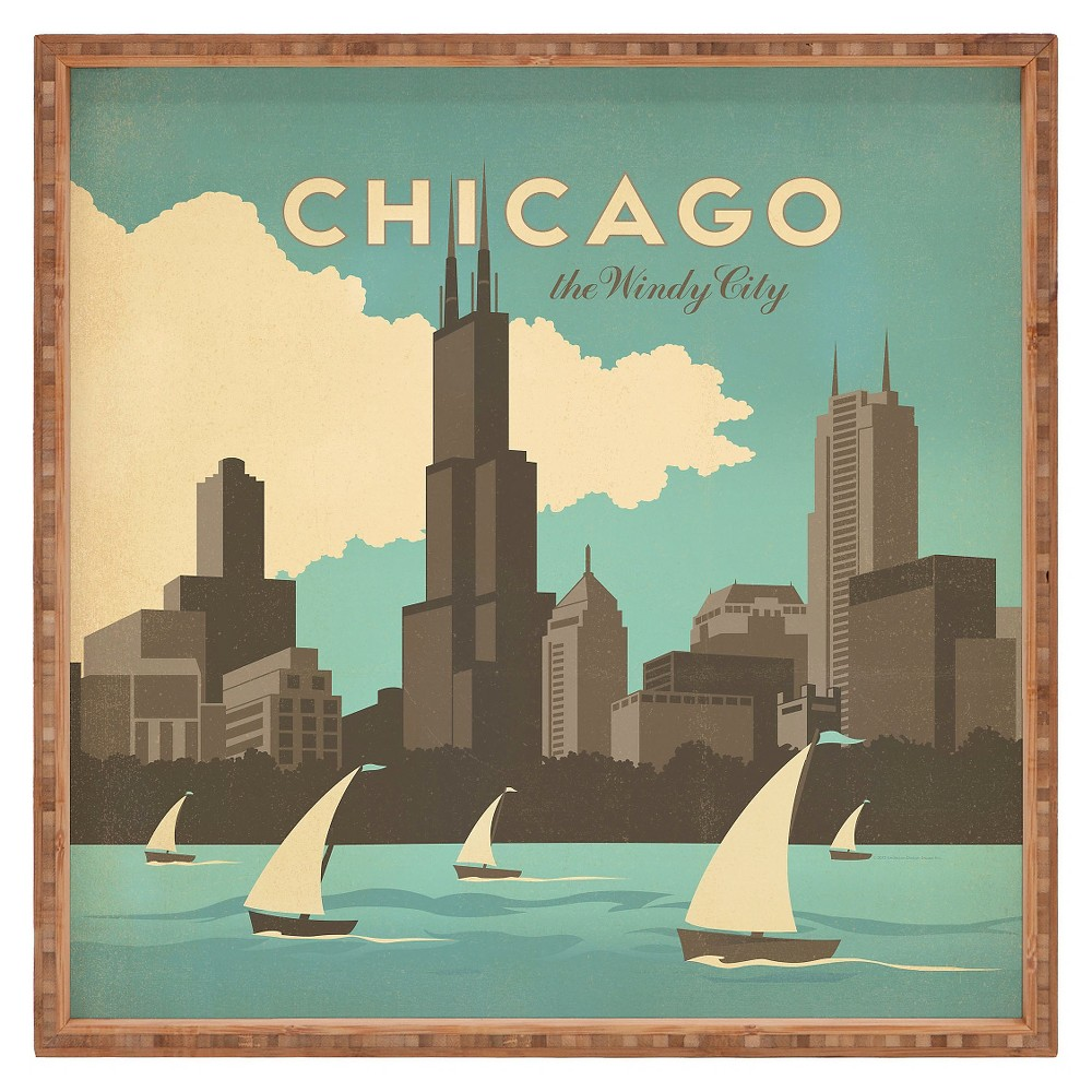 Image of Anderson Design Group Chicago Square Tray - Green - Deny Designs, Brown Blue