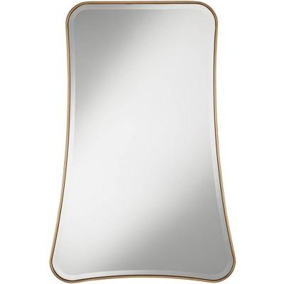 """Possini Euro Design Corrie Antique Gold 26"""" x 39"""" Curved Rectangular Mirror"""