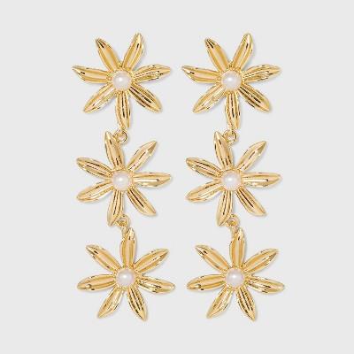 SUGARFIX by BaubleBar Stacked Flower Drop Earrings - Gold