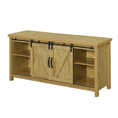 """Blake Barn Door TV Stand for TVs up to 55"""" with Shelves and Sliding Cabinets English Oak - Breighton Home"""