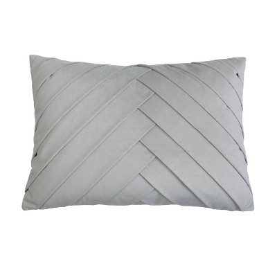 "14""x20"" Oversize James Pleated Velvet Lumbar Throw Pillow Gray - Décor Therapy"