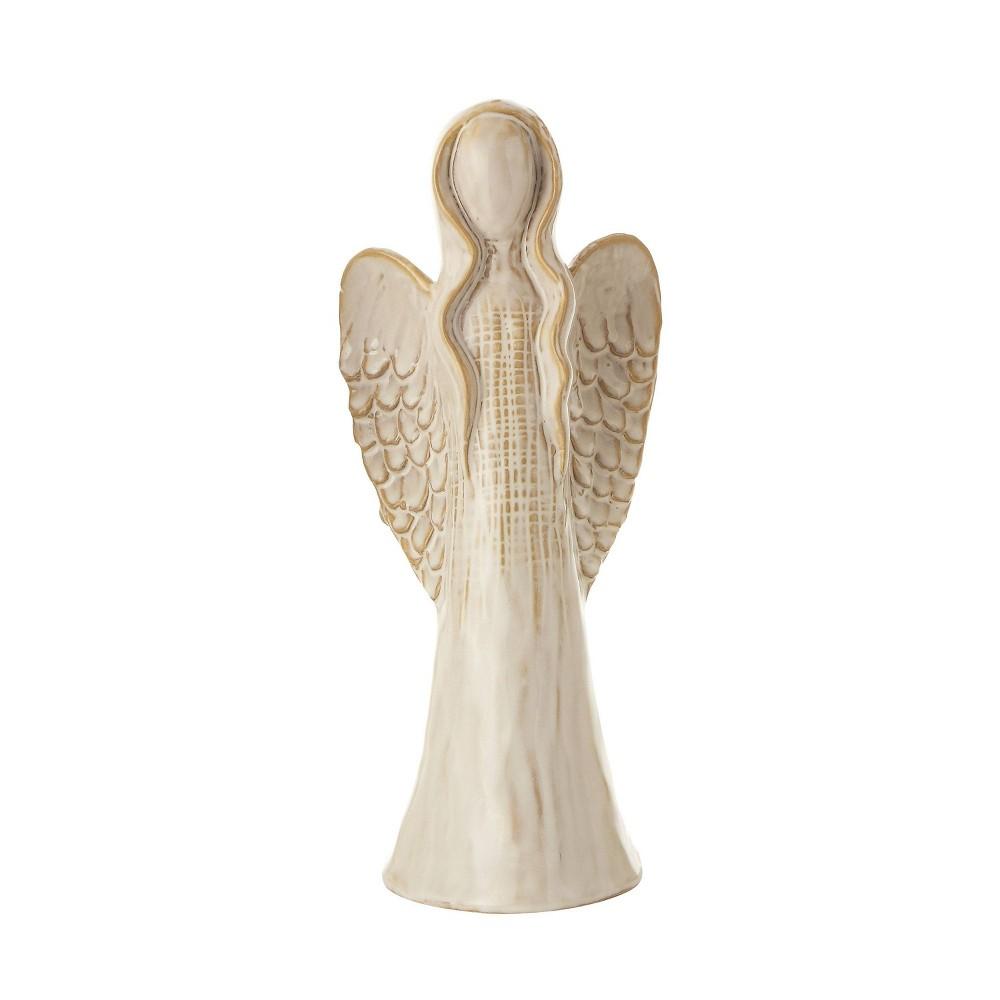 "Image of ""11.25"""" Stoneware Angel Decorative Figurine Cream Glaze - 3R Studios, Beige"""