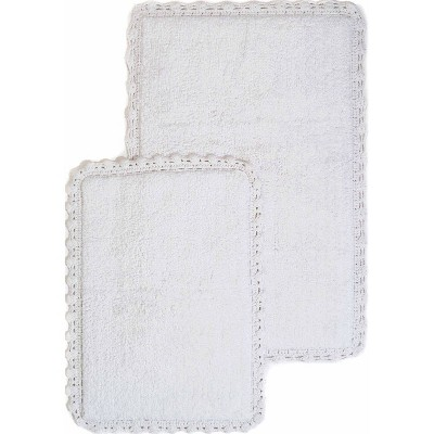 2pc Solid Crochet Bath Rug Set White - Chesapeake