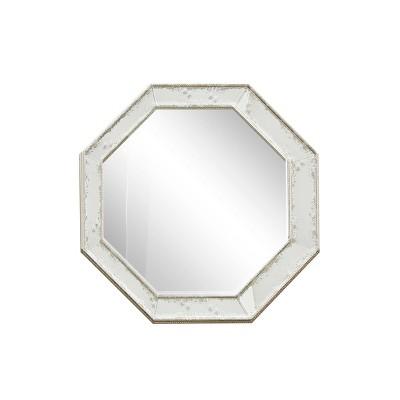 "38.5"" x 38.5"" Octagonal Beveled Vintage Wall Mirror Metal Bead Detail - Olivia & May"