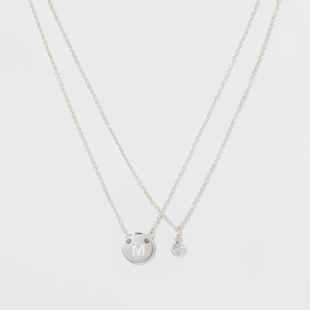 Women's Silver Plated Letter M Initial Clear Crystal Necklace - Silver (18), Size: Medium, Gold