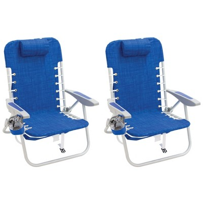 RIO Brands Portable Lightweight Aluminum Frame 4 Position Lace Up Folding Backpack Beach Lawn Patio Lounge Chair, Blue (2 Pack)