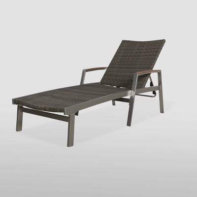 Oxton Aluminum and Wicker Chaise Lounge - Gray - Christopher Knight Home