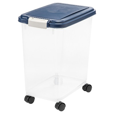 IRIS Airtight Pet Food Storage Container - 25lbs - Navy/Clear