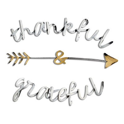 "22""x15"" Hand Painted 3D Wall Sculpture Thankful and Grateful Bronze- Letter2Word"