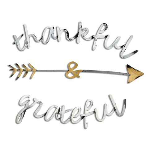 Thankful and Grateful Bronze 22 x 15 x .25 - Letter2Word - image 1 of 2