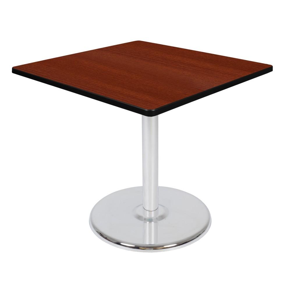 36 Via Square Platter Base Table Cherry/Chrome (Red/Grey) - Regency