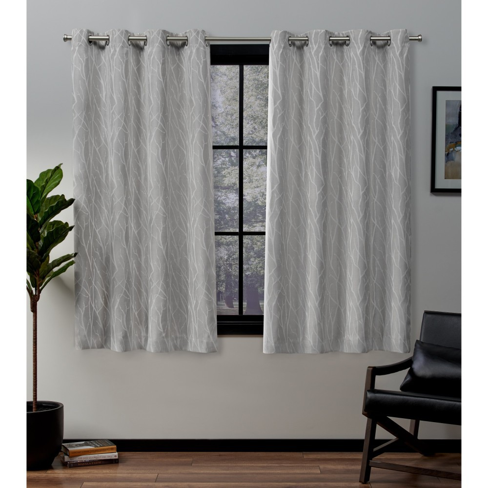 "Image of ""52""""x63"""" Forest Hill Woven Blackout Grommet Top Window Curtain Panel Pair Dove Grey - Exclusive Home, Light Gray"""
