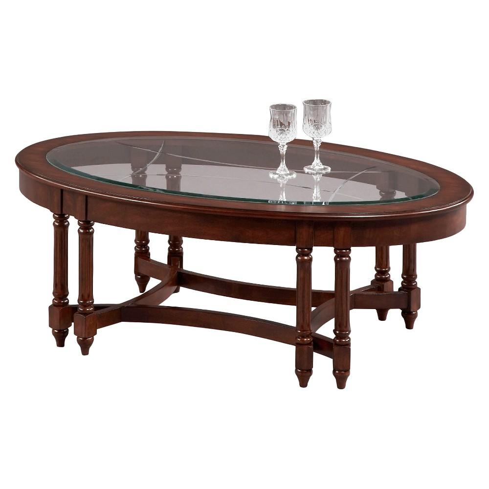 Canton Heights Oval Coffee Table - Dark Berry - Progressive Furniture