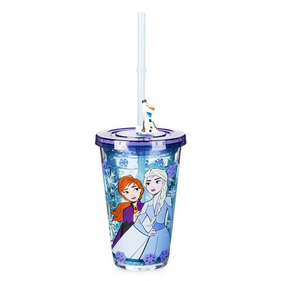 Disney Frozen 2 8.2oz Plastic Tumbler with Straw Blue - Disney Store