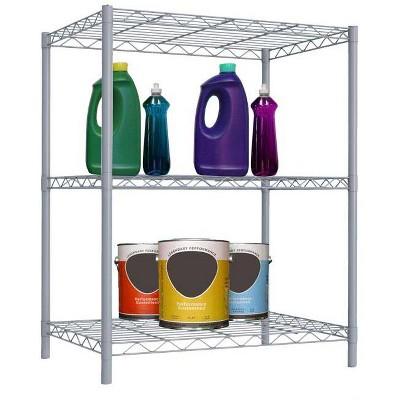 Home Basics 3 Tier Steel Wire Shelf, Grey