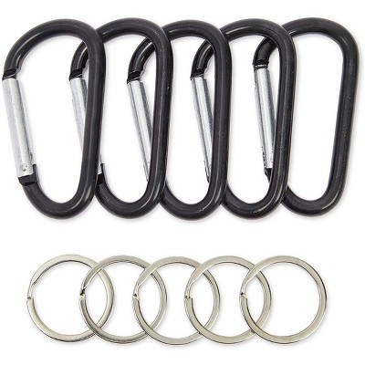 Stockroom Plus 50 Pack Carabiner Clip Key Rings with D Shape Buckles (2.3 in)