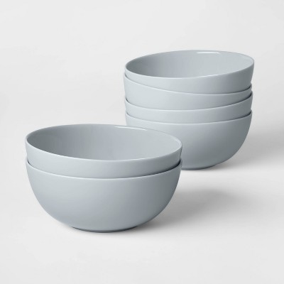 16oz 6pk Glass Bowls Gray - Made By Design™