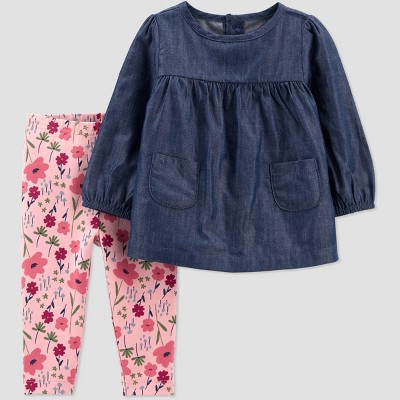 Baby Girls' Floral Chambray Top & Bottom Set - Just One You® made by carter's Pink/Blue 3M