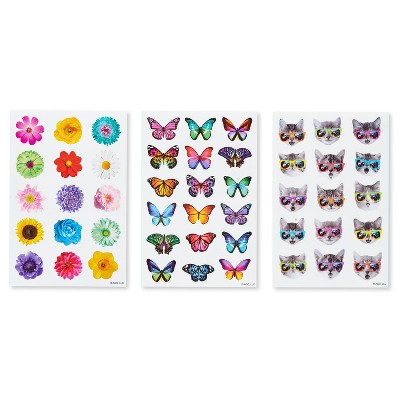 162ct Butterfly, Cats, and Flowers Stickers