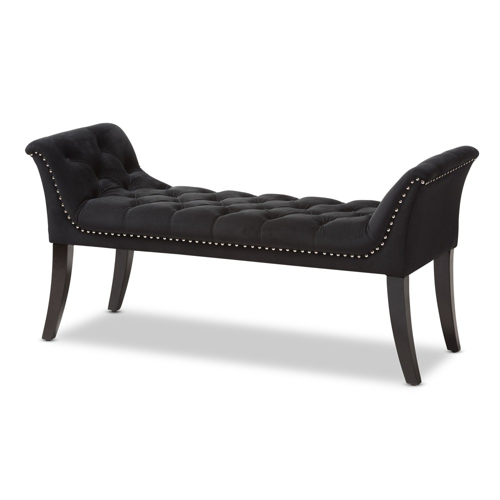 Chandelle Luxe and Contemporary Velvet Upholstered Bench Black - Baxton Studio