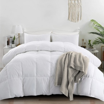 Puredown All Season White Goose Down Feather Comforter Cotton Cover Medium Warmth