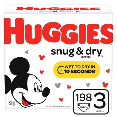 Huggies Snug And Dry Diapers Huge Pack - Size 3 (198ct )