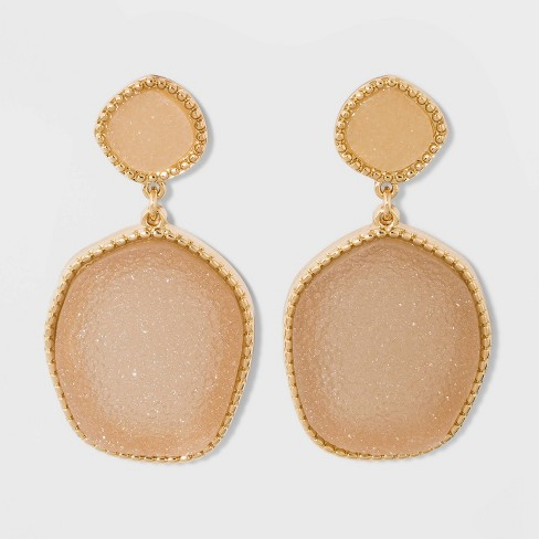 SUGARFIX by BaubleBar Two-Tone Druzy Drop Earrings - image 1 of 2