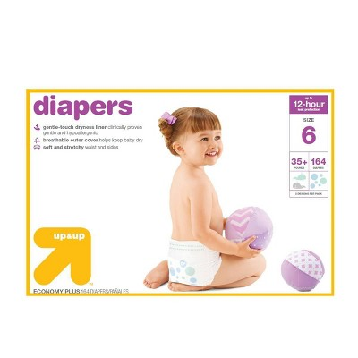 Diapers Economy Plus Pack - Size 6 - 164ct - Up&Up™