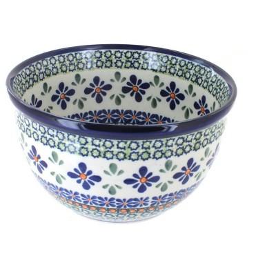 Blue Rose Polish Pottery Mosaic Flower Small Mixing Bowl