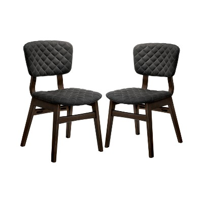 Set of 2 Welch Tufted Wood Dining Side Chair Gray/Walnut - miBasics