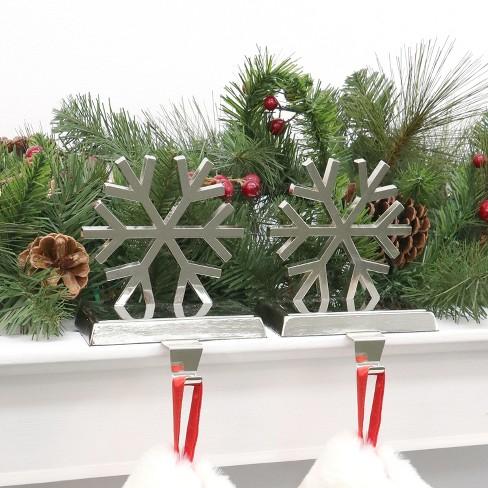 Metal Snowflake Christmas Stocking Holder Silver 2ct Wonder Target