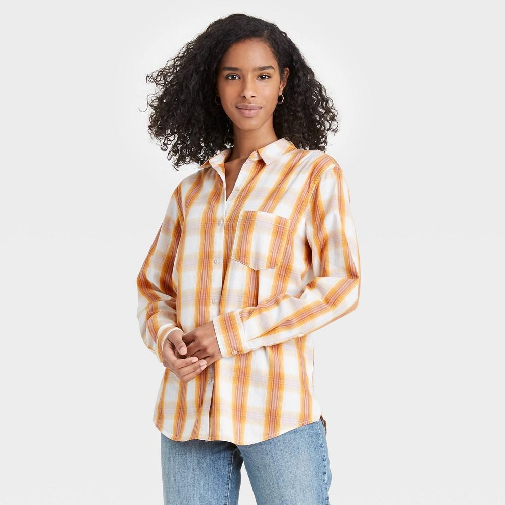 Women 39 S Plaid Long Sleeve Button Down Shirt Universal Thread 8482 Yellow Xl