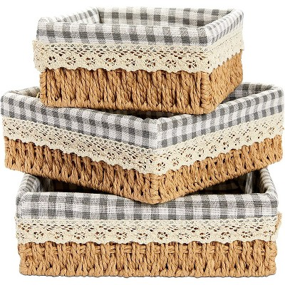 Farmlyn Creek 3-Pack Woven Wicker Storage Baskets with Removable Liner, Home Organizer (3 Sizes)