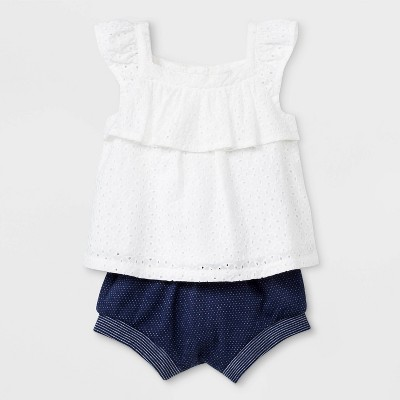 Baby Girls' Eyelet Ruffle Top and Cuff Shorts - Cat & Jack™ White/Navy Blue 0-3M