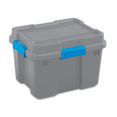 Sterilite 20 Gallon Heavy Duty Plastic Gasket Tote Stackable Storage Organization Container Box with Lid and Latches, Titanium Gray/Blue (4 Pack)