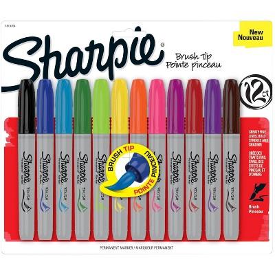 Sharpie Permanent Marker, Brush Tip, Assorted Color, set of 12