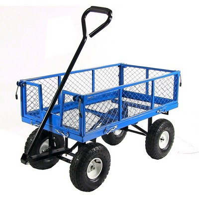 Sunnydaze Outdoor Lawn and Garden Heavy-Duty Durable Steel Mesh Utility Wagon Cart with Removable Sides - Blue
