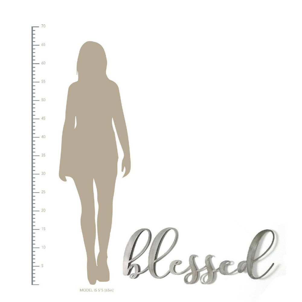 """Image of """"""""""""Blessed"""""""" Oversized Metal Sign Silver - Stratton Home Decor"""""""