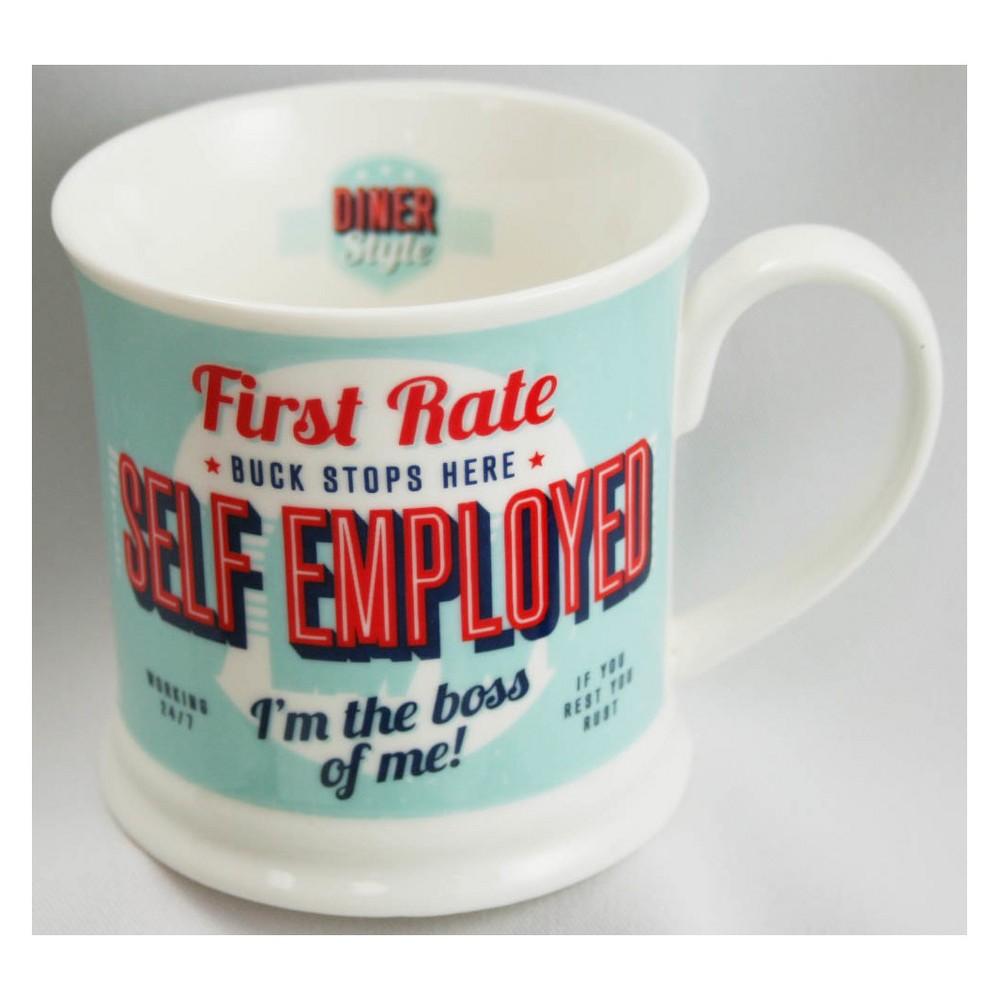 Self Employed Diner Style Mug - History & Heraldry, Blue